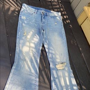 Blank NYC Distressed Blue Wash Flare Jeans Sz 27